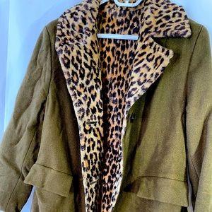 Leopard faux fur lined olive green heavy wool coat